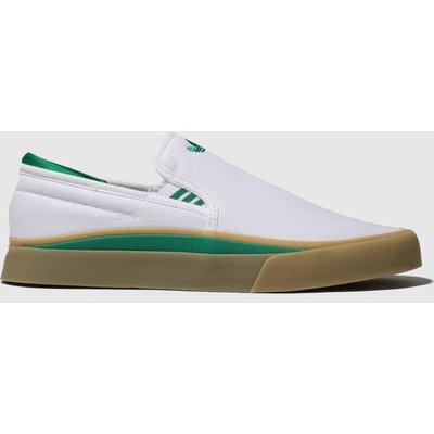 Adidas Skateboarding White & Green Sabalo Slip Trainers