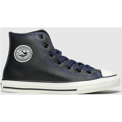 Converse Black And Blue All Star Tumbled Leather Trainers Junior
