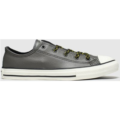 Converse Dark Grey All Star Tumbled Leather Trainers Junior