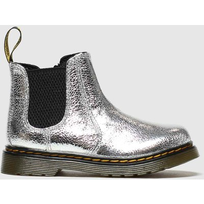Dr Martens Silver 2976 Crinkle Metallic Boots Toddler