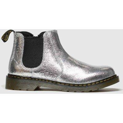 Dr Martens Silver 2976 Crinkle Metallic Boots Junior
