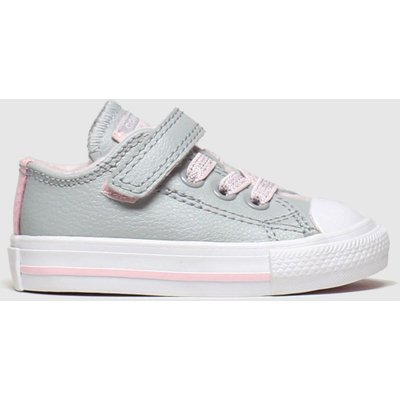 Converse Light Grey All Star Sparkle Lace 1v Lo Trainers Toddler