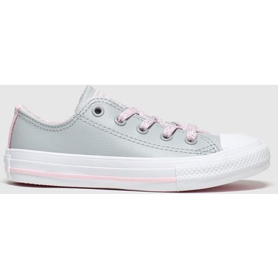 Converse Light Grey All Star Sparkle Lace Lo Trainers Junior