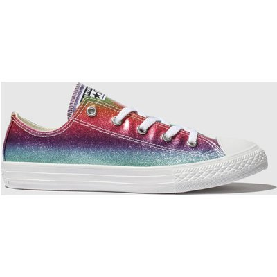 Converse Multi All Star Lo Glitter Rainbow Trainers Junior