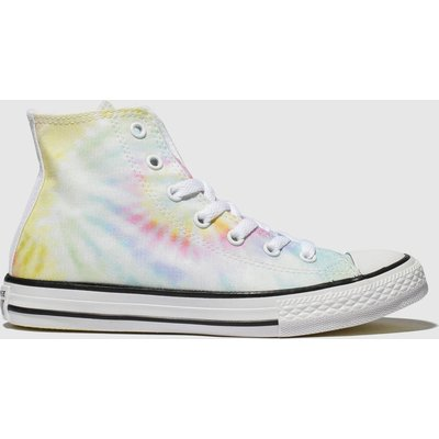 Converse Blue & Yellow All Star Hi Tie Dye Trainers Junior