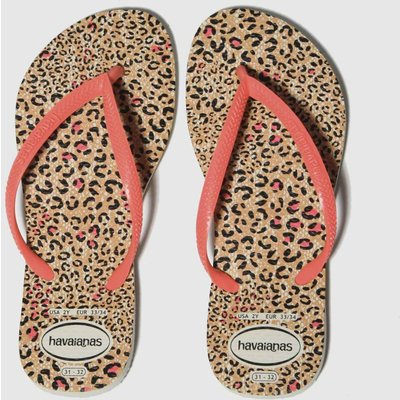 Havaianas Black & Peach Slim Animal Sandals Junior