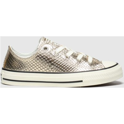 Converse Gold All Star Lo Metallic Snake Trainers Junior