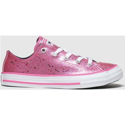 Converse Pink All Star Lo Galaxy Glimmer Trainers Junior