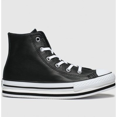 Converse Black All Star Hi Platform Eva Trainers Junior
