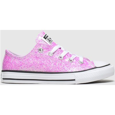 Converse Pale Pink All Star Lo Glitter Trainers Junior