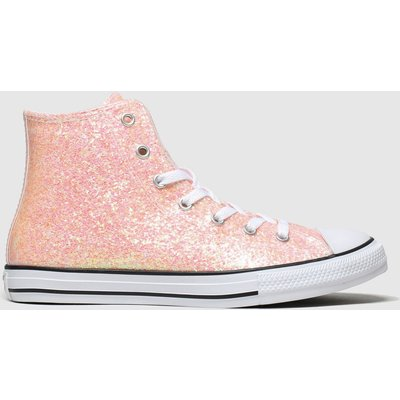 Converse Peach All Star Hi Glitter Trainers Youth