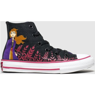 Converse Black & Purple All Star Hi Ii Anna X Frozen Trainers Youth