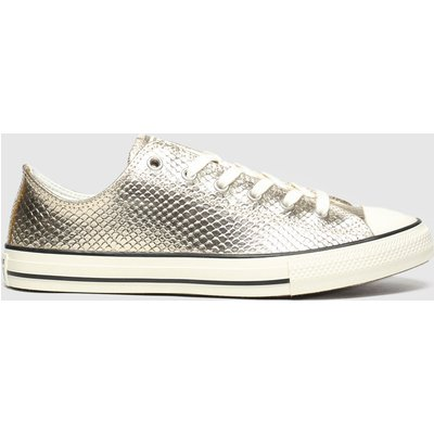 Converse Gold All Star Lo Metallic Snake Trainers Youth