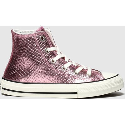 Converse Pink All Star Hi Metallic Snake Trainers Youth