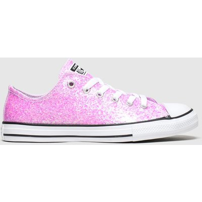 Converse Pale Pink All Star Lo Glitter Trainers Youth