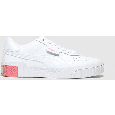 Puma White & Pink Cali Trainers Youth