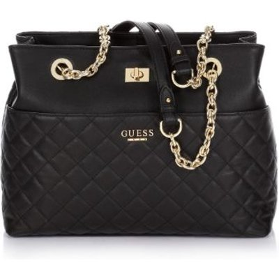 Guess Suave Quilted Leather Bag, Black