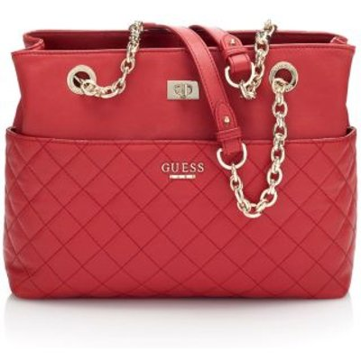 Guess Suave Quilted Leather Bag, Red