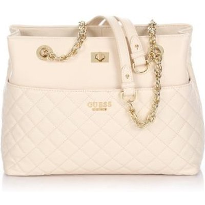 Guess Suave Quilted Leather Bag, White
