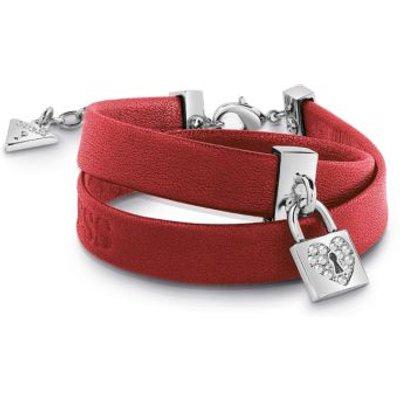 Guess Heart Lock Leather Bracelet, Silver
