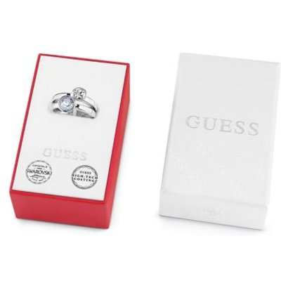 Guess Box Set With White And Blue Crystal Rings, Silver