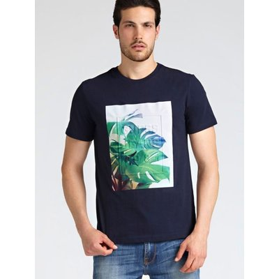 Guess T-Shirt With Raised Logo Palm Print