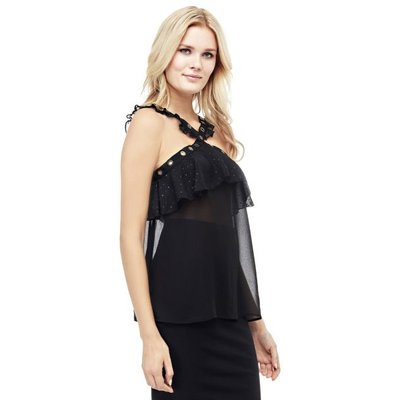 Guess Perforated Crossover Neckline Top