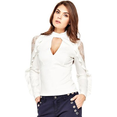 Guess Top With Lace And Flounce Sleeves