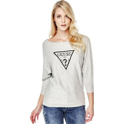 Guess Sweater With Logo Triangle Appliqué
