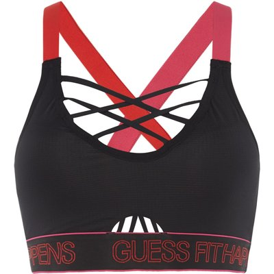 Guess BR Strappy Back Padded Sports Bra, Black