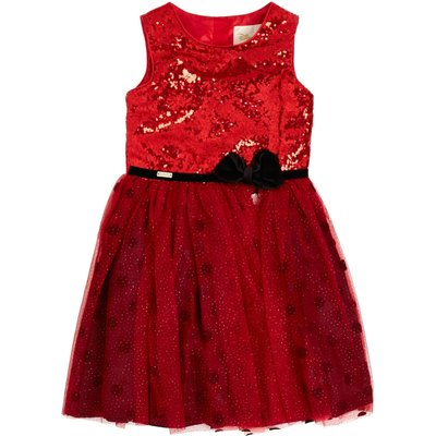 Disney The Boutique Collection Girls Minnie Bow Waist Sequin Dress, Red