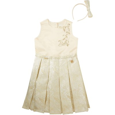 Disney The Boutique Collection Girls Belle Pleated Jaquard Dress, Gold