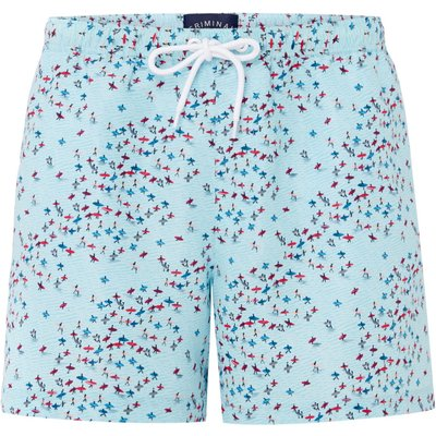 Men's Criminal Hand Drawn Surfers Print Swim Shorts, Blue