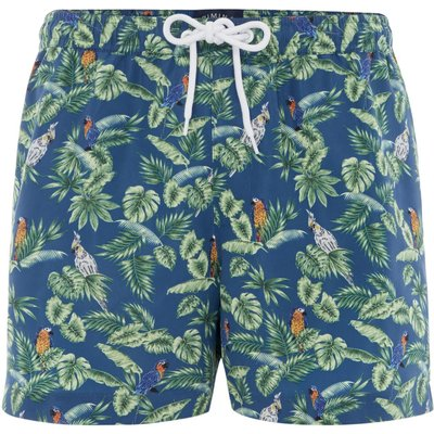 Men's Criminal Parrot and Palm Leaf Print Swim Shorts, Blue