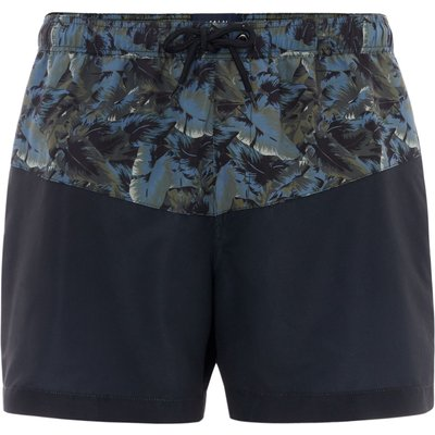 Men's Criminal Camo Foliage Cut and Sew Swim Shorts, Green
