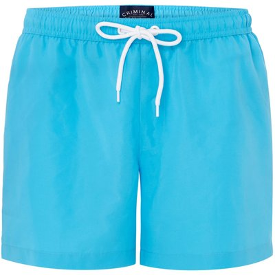 Men's Criminal Plain Swim Shorts, Bright Blue