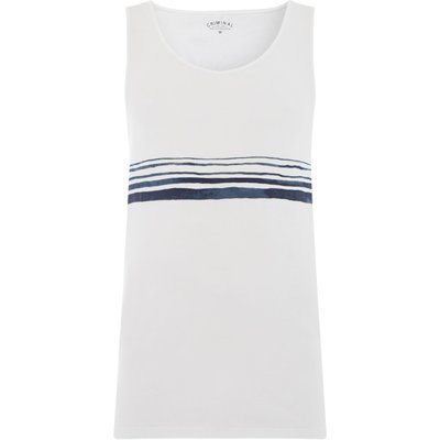 Men's Criminal Placement stripe print vest, White