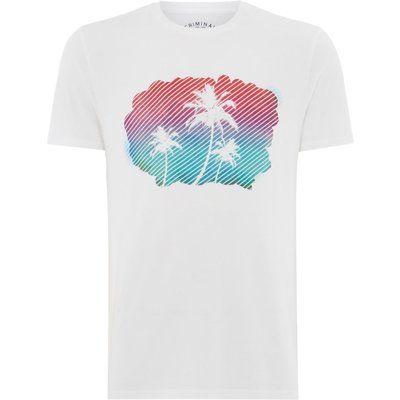 Men's Criminal Palm Ombre Tshirt, White