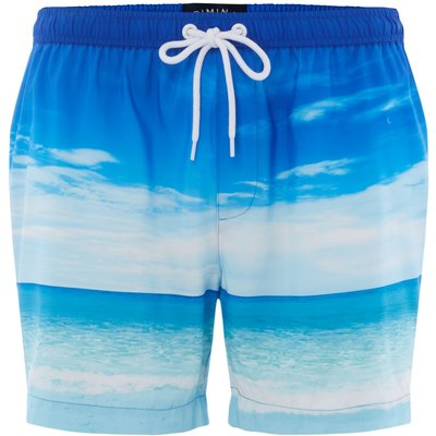Men's Criminal Photographic Beach Swim Shorts, Blue
