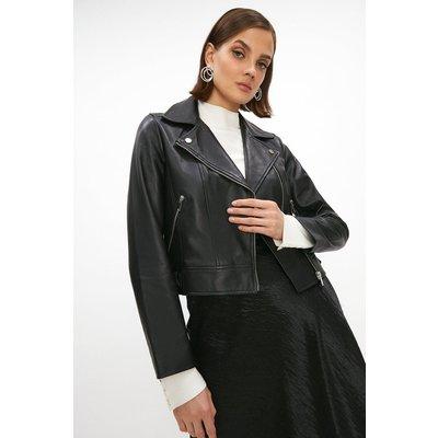Coast Premium Leather Biker Jacket -, Black
