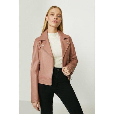 Coast Premium Leather Biker Jacket -, Pink