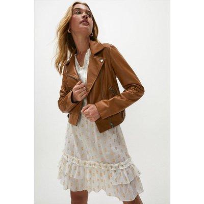 Coast Premium Leather Biker Jacket -, Tan