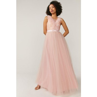 Coast Feather Detail Plunge Dress -, Pink