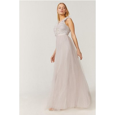 Coast Feather Detail Plunge Dress -, Silver