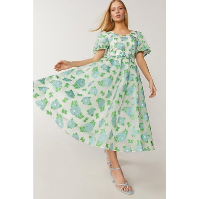Coast Midi Puff Sleeve Floral Dress -, Blue
