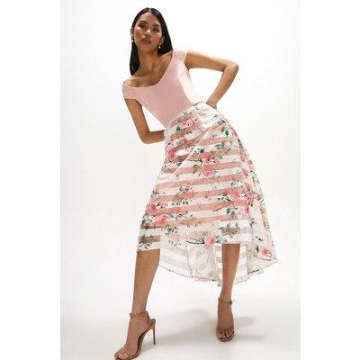 Coast Clipped Jacquard Stripe Dress -, Pink
