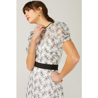 Coast Puff Sleeve Embroidered Floral Dress -, Mono
