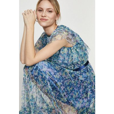 Coast Mesh Printed Dress With Pleated Skirt -, Blue