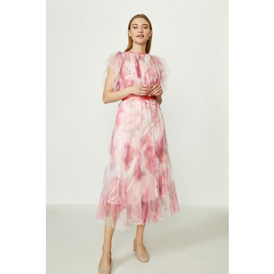Coast Mesh Printed Dress With Pleated Skirt -, Pink
