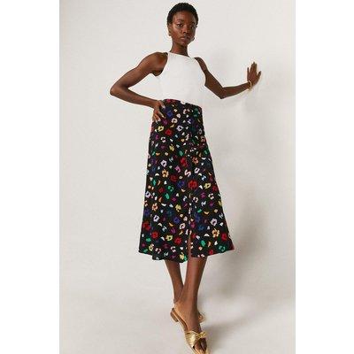 Coast Printed Button Through Midi Skirt, Multi
